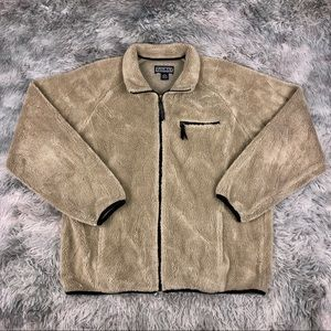 Vintage LANDS END USA Sherpa Deep Pile Tan Jacket